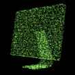Green shimmering computer screen — Foto Stock