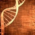 Orange DNA Helix background squares — Stock Photo