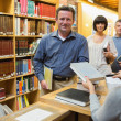 Queue at the library — Stock Photo