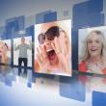 Four photos displayed on digital wall — Stock Photo