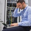 Data technician getting stressed - ストック写真