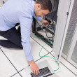 Stock Photo: Techniciconnecting his laptop to server