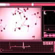 Pink molecule cells interface — 图库照片