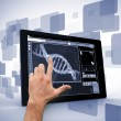Man pointing at DNA interface on digital tablet — Stock Photo #23053426