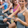 Happy women in gym — Stock Photo #23053650