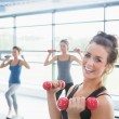 Smiling woman lifting weights while women doing aerobics — Stock Photo #23053880