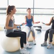 Stock Photo: Women doing work out on exercise balls