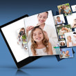 Tablet computer showing many family images — Stock Photo