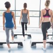 Stock Photo: Female aerobic group stepping