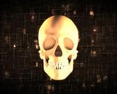 Oranje menselijke schedel — Stockfoto