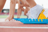Starting block with runners — Stock Photo