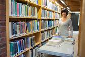 Bibliotekarie sätta tillbaka böcker — Stockfoto
