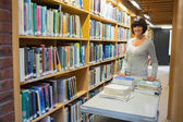 Librarian putting back books — Stockfoto