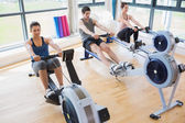 Using rowing machines — Stock Photo