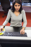 Woman in computer class — Stock Photo