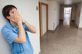 Fed up looking nurse — Stok fotoğraf