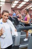 Woman happy in the gym — Stock Photo
