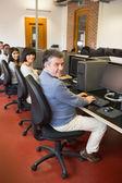 Happy computer class — Stock Photo
