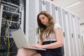 Woman saving data — Stock Photo