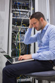 Data technician getting stressed — Stock Photo