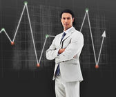 Man standing in front of a statistic — Stock Photo