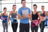 Trainer with his yoga class — Stock Photo