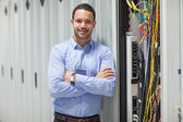 Technician standing next to the data store — Stock Photo
