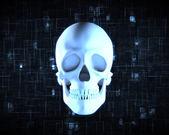 Blue human skull — Stock Photo