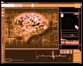 Orange brain interface technology — Stock Photo