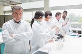 Chimiste en laboratoire occupé — Photo