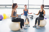 Women doing work out on exercise balls — Stock Photo