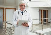 Doktor hasta dosyasını bakar gibi gülümseyen — Stok fotoğraf