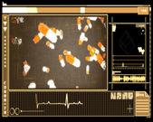 Technologia pigułki pomarańczowy pikseli — Zdjęcie stockowe