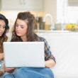 Girls working with laptop — Stock Photo