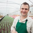 Smiling man taking notes in greenhouse - Stock Photo