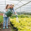 Gardener and granddaughter watering the plants - Stock Photo