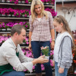 Garden center worker giving a flower to child — Stock Photo