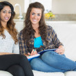 Two girls sitting on a couch with notepad and tablet pc - ストック写真