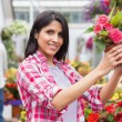 Smiling woman lifting a flower pot - Foto de Stock