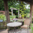 Garden with furniture — Stock Photo