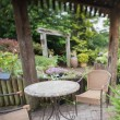 Garden with furniture - Stock Photo