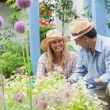 Stock Photo: Happy couple doing the gardening