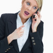 Woman on the phone having heated discussion — Stock Photo