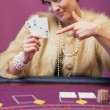 Womin casino showing cards — Stock Photo #23089454