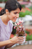 Woman holding a flower and smelling — Stock Photo