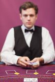 Dealer about to deal in poker game — Stock Photo