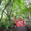 Red Japanese style bridge in forest - Stock Photo