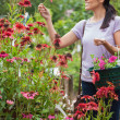 Woman holding a basket while looking at flowers — Stock Photo