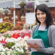 Employee making notes on the flowers in garden center — Stock Photo
