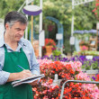 Foto Stock: Florist taking notes